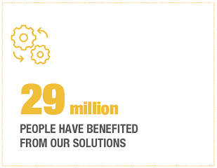 29 million people have benefited from our solutions